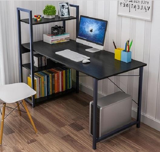 Bàn làm việc văn phòng liền kệ đa năng Tâm House - B62 (100x48cm) chân đen