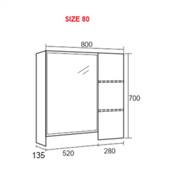 Tủ gương phòng tắm Zento ZT-LV918 - 80cm ( Chỉ giao hàng HCM và Hà Nội )