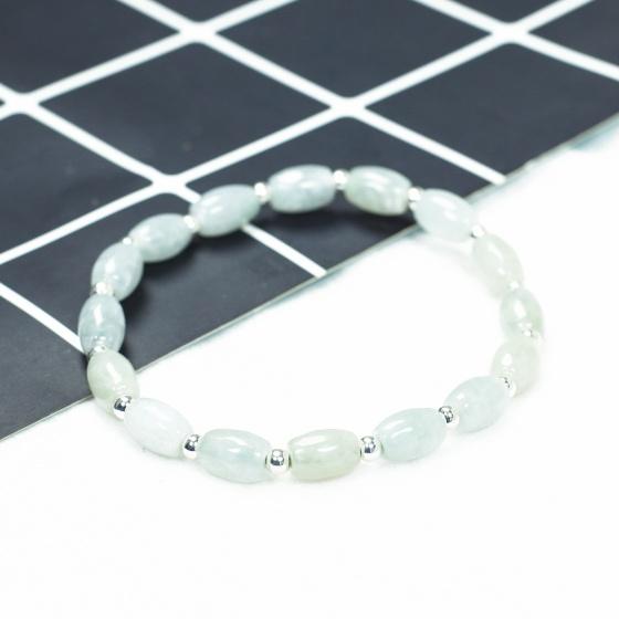 Vòng lu thống cẩm thạch A phối bi bạc hạt 8.5x6mm mệnh hỏa , mộc - Ngọc Quý Gemstones