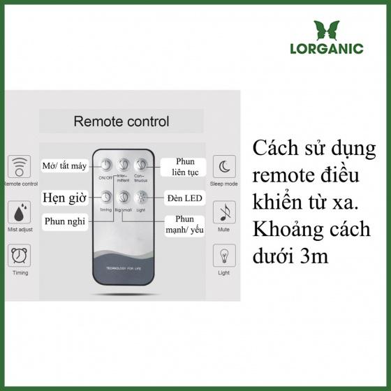 Combo máy khuếch tán xông tinh dầu Lorganic loa bluetooth vân rạn dung tích 1000ml FX2072 - có remote+ tinh dầu sả chanh (10ml)