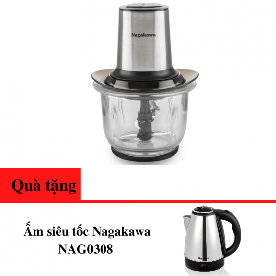 Máy xay thịt Nagakawa NAG0812 400w - lưỡi dao 4 cánh - tặng ấm siêu tốc 1.8l - bảo hành 12 tháng
