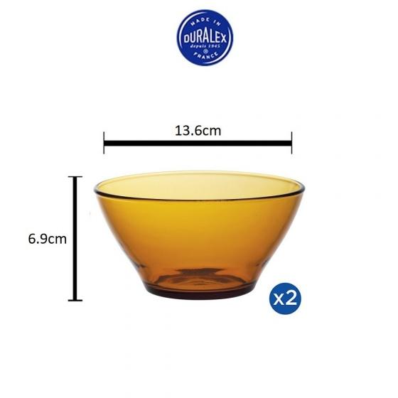 Bộ 2 tô D2004D Duralex - Lys Vàng Amber 13.6cm Thủy tinh cường lực cao cấp Pháp