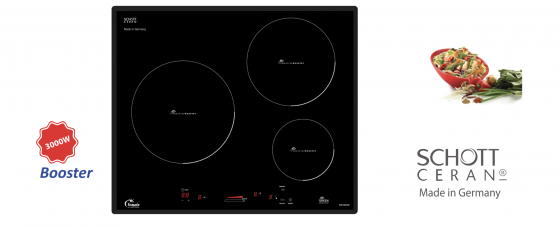 Bếp cảm ứng từ Tomate TOM 03IS-8G 3 vùng nấu - Nội địa Tây Ban Nha