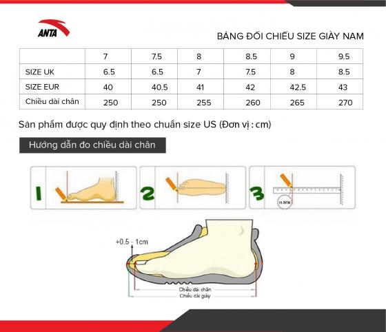 Giày chạy thể thao nam Anta 812025572-3