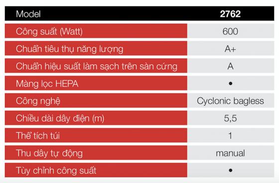 Chổi điện hút bụi cầm tay Ariete 600W MOD.2762 - Hàng Chính Hãng