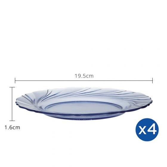 Bộ 4 dĩa thủy tinh chịu lực Duralex Pháp Beau Rigave 19.5cm
