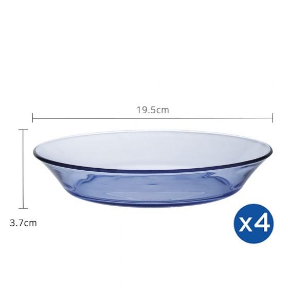Bộ 4 dĩa sâu lòng thủy tinh chịu lực Pháp Duralex Lys 19.5cm