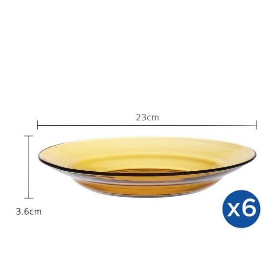 Bộ 6 dĩa D3011D Duralex - Lý Vàng Amber 23cm Thủy tinh cường lực cao cấp Pháp