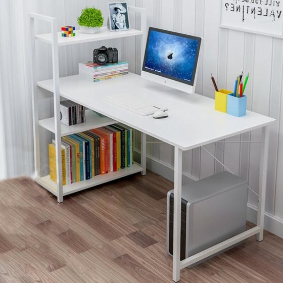 Bàn làm việc văn phòng liền kệ đa năng Tâm House - B62 (100x48cm) chân trắng