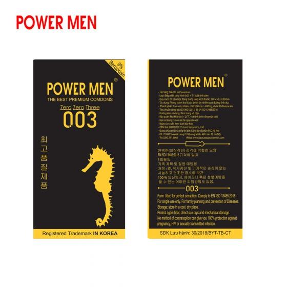 Combo Bao cao su Powermen siêu siêu mỏng 003 Hộp 9 chiếc kèm Bao cao su gân gai