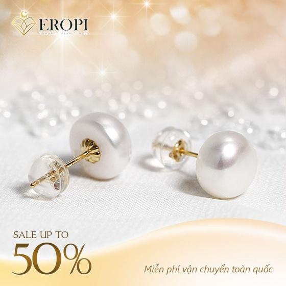 EROPI - Bông tai vàng 18K ngọc trai thật Kira 9-9.5mm