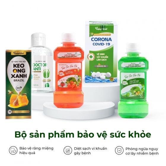 Combo 5 sản phẩm bảo vệ sức khỏe, gel rửa tay khô, nước súc miệng, dung dịch xịt họng