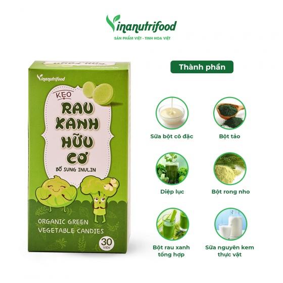 Kẹo rau xanh Vinanutrifood bổ sung tinh chất rau củ chứa vitamin và khoáng chất xơ, có lợi cho tiêu hóa