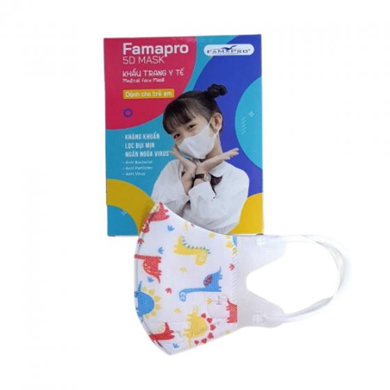 Combo 5 hộp khẩu trang kháng khuẩn Famapro 5D baby khủng long (hộp 10 cái)