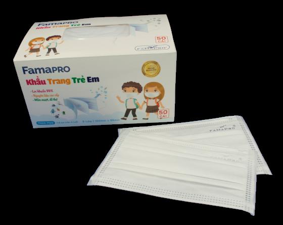 Khẩu trang y tế kháng khuẩn Famapro Max Kid tiêu chuẩn xuất khẩu (hộp 50 cái)