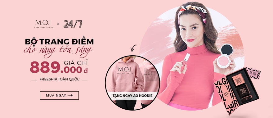Mua bộ mỹ phẩm M.O.I 24/7 tặng áo Hoodie thời trang.