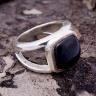 Nhẫn bạc nam đá Mã não đen bạc Thái 925 handmade