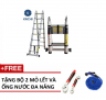 Thang nhôm rút chữ A Kachi 3m8 - tặng mỏ lết và ống nước đa năng
