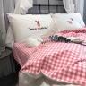 Bộ chăn ga gối Linen cao cấp họa tiết thêu CZN 09-kẻ hồng - COZINO