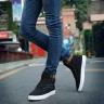Giày nam thời trang cao cổ sneaker màu đen