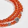 Vòng tay phong thủy 3 line đá garnet cam phối charm bạc (4mm) Ngọc Quý Gemstones