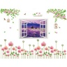 Combo decal dán tường cành đào hồng, cửa sổ và hoa giai nhân PK525