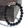 Vòng tay đá thiền Obsidian mix Thạch anh tóc đen và charm bạc BOBSS02 - VietGemstones