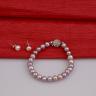 Opal - bộ chuỗi vòng tay và hoa tai ngọc trai tím _T7