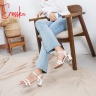 Giày nữ, giày gao gót block heels đế vuông Erosska cao 7cm dây mảnh ET001 màu cam đất