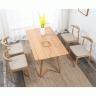 Bộ bàn ăn 4 ghế Bull gỗ cao su màu tự nhiên - Cozino