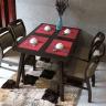 Bộ bàn ăn 4 ghế Ashley gỗ cao su màu walnut - Cozino