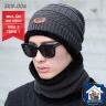 Mũ và khăn len có lớp lót bông giữ nhiệt unisex