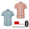 Bộ 2 áo sơ mi ngắn tay sọc caro thời trang tặng kèm đồng hồ Sport Led MSMI8351
