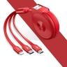 Cáp sạc nhanh đa năng cuộn rút 3 trong 1 USAMS US-SJ280 U20 (Lightning, Micro, Type C) - màu đỏ (1 mét)