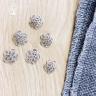 Charm bạc chụp hạt, bọc hạt xỏ hình hoa tua rua 12mm