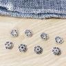 Charm bạc chụp hạt, bọc hạt họa tiết hoa văn xương cá 8mm