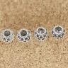 Charm bạc xỏ ngang hình hoa văn 7mm