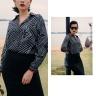 Áo kiểu nữ họa tiết đen trắng HeraDG - WAS19007