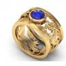 Nhẫn nam song long đá thạch anh tự nhiên mạ vàng 18k - RM01071